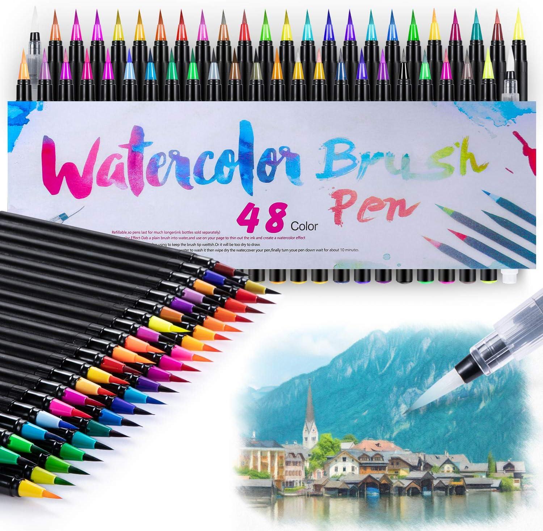 48 + 2 Brush Pens Hand Lettering Pens Set