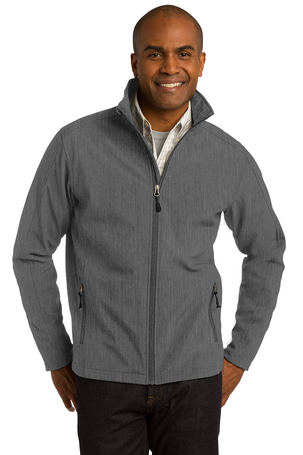 Port Authority Core Soft Shell Jacket - J317 (Black Charcoal Heather, L)