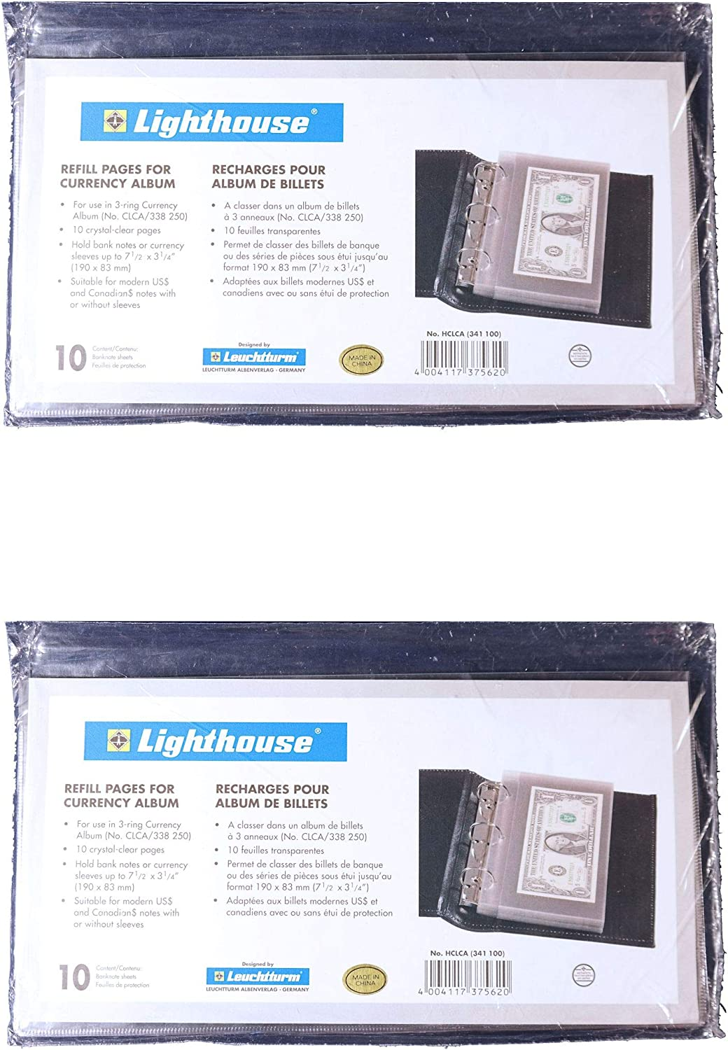 Lighthouse Classic Currency Album 3-Ring Binder Refill Pages 10 Pack