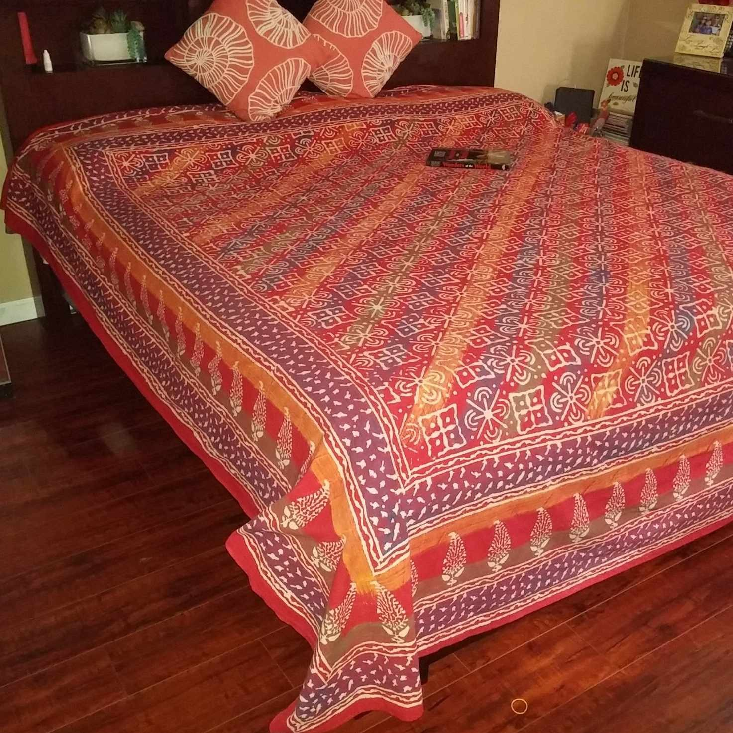 Handmade Cotton Hand Block Print Dabu Floral Tapestry Tablecloth Bedspread Throw Beach Sheet Sun Canopy Full