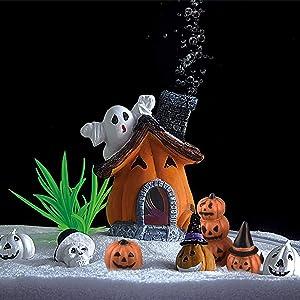 8 Pcs Halloween Pumpkin Figurines Decorations, Aquarium Cucurbita Decoration, Pumpkin House Fish Tank Bubbler, Resin Crafts Ornament Halloween Décor