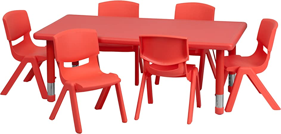 Flash Furniture 24 W X 48 L Rectangular Red Plastic Height Adjustable Activity Table Set With 6 Chairs Furniture Decor Amazon Com