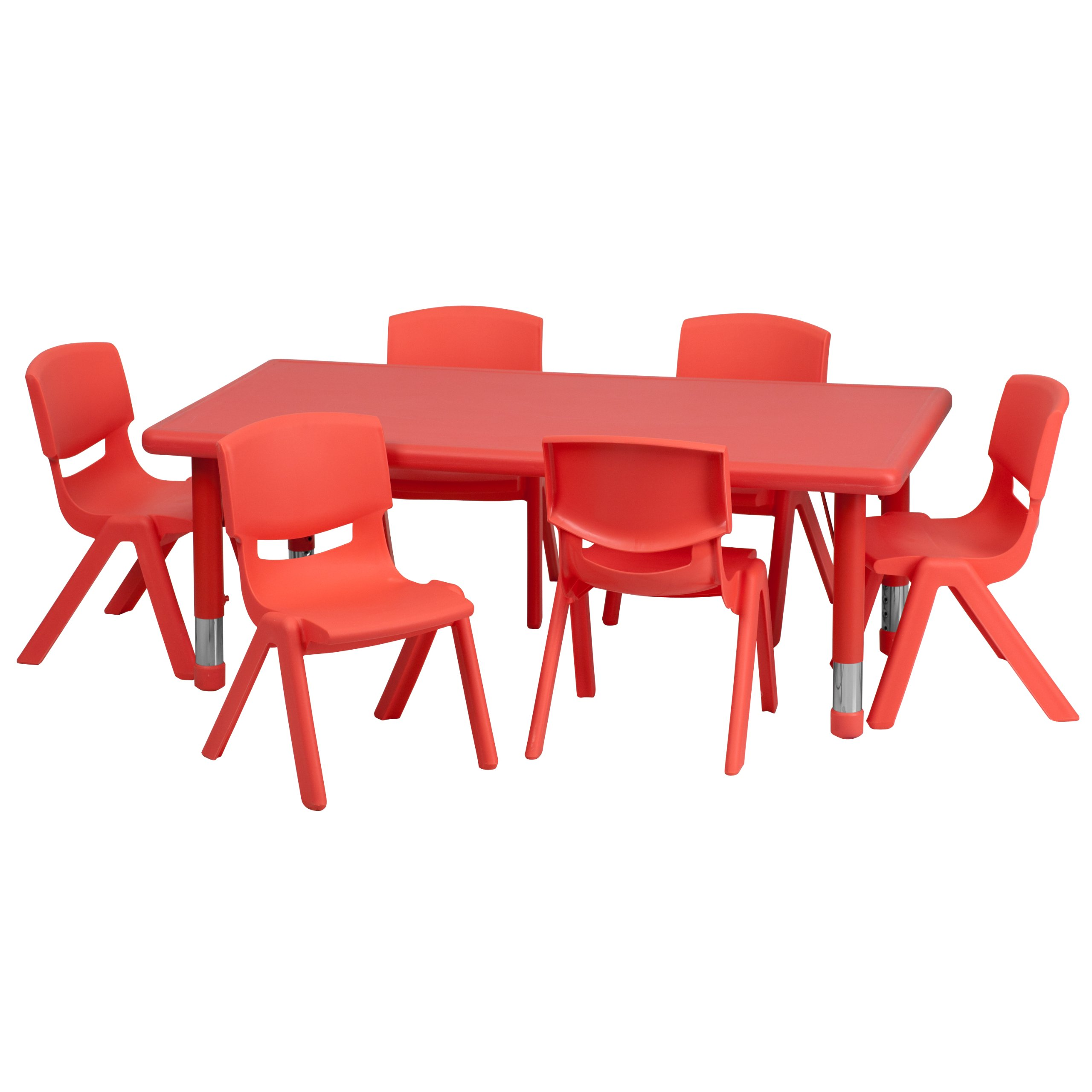 Flash Furniture 24''W x 48''L Rectangular Red Plastic Height Adjustable Activity Table Set with 6 Chairs