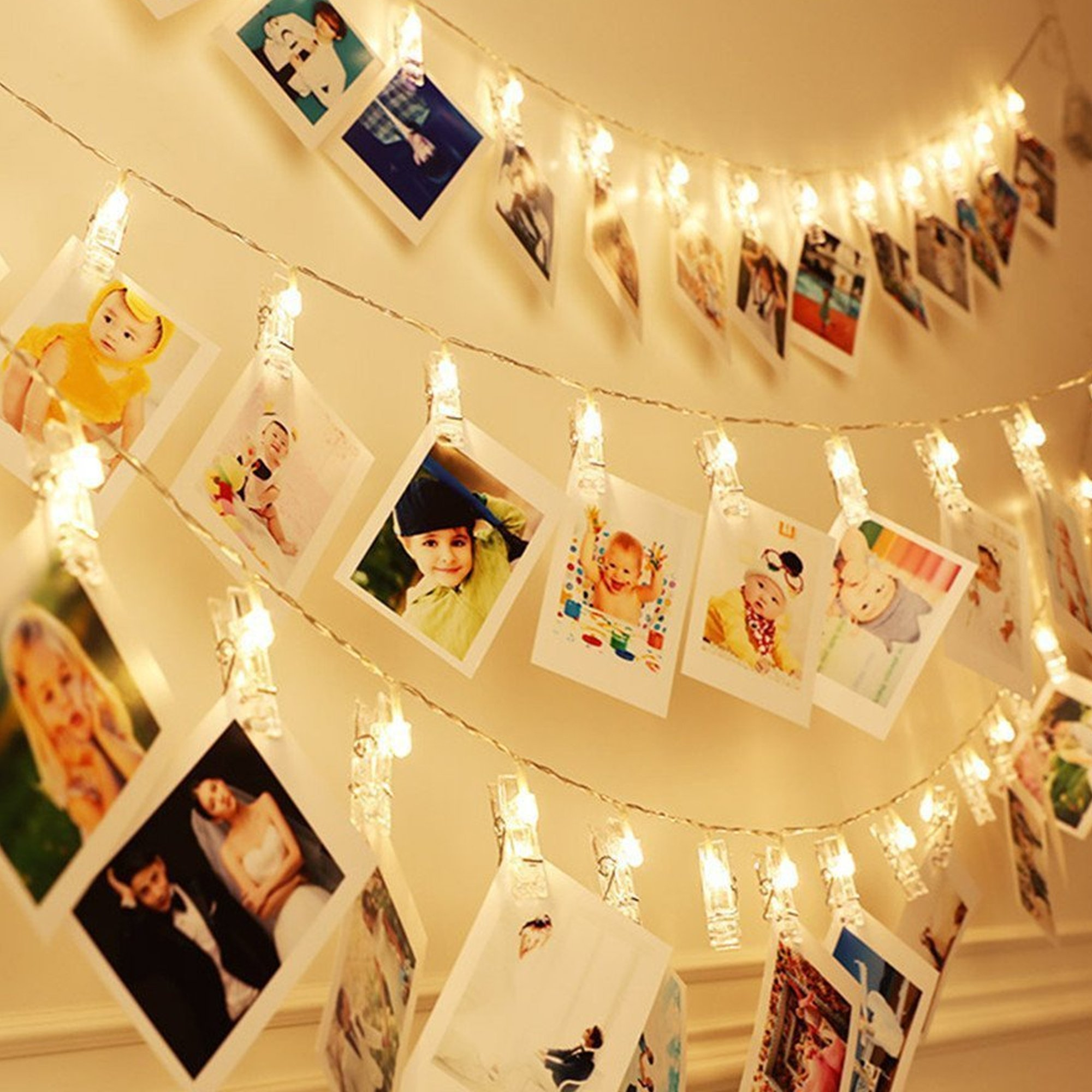 5m Hanging Picture Decoration Fairy Lights 20 Photo Clips String Lights in Warm White for Birthday Parties & Home Décor by Glift(TM) (Image #2)