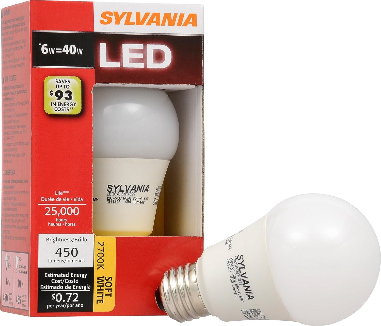 Sylvania lúmenes A19 bombilla LED de luz blanca: Amazon.es: Bricolaje y herramientas