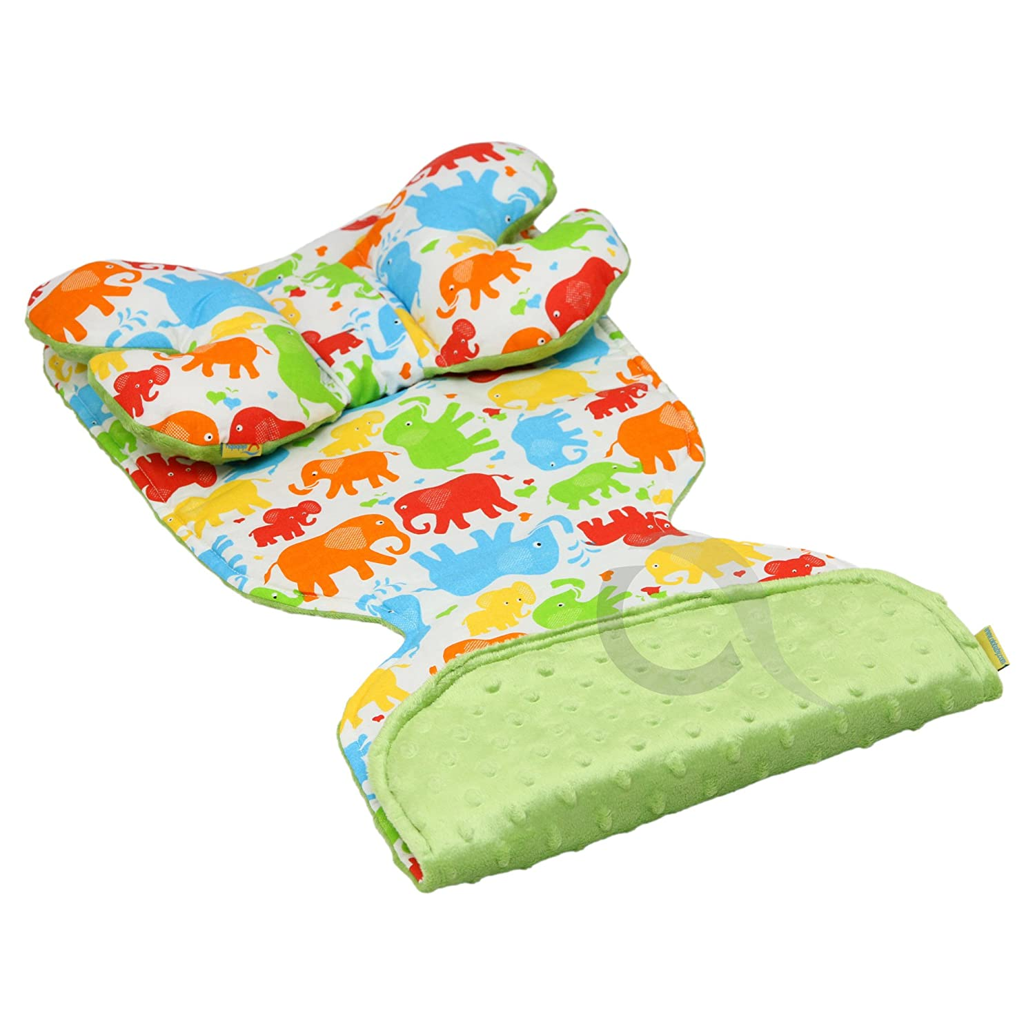 Reversible Pushchair Liner mattres & ANGEL'S WINGS set Minky/Cotton (green/elephant) olobaby
