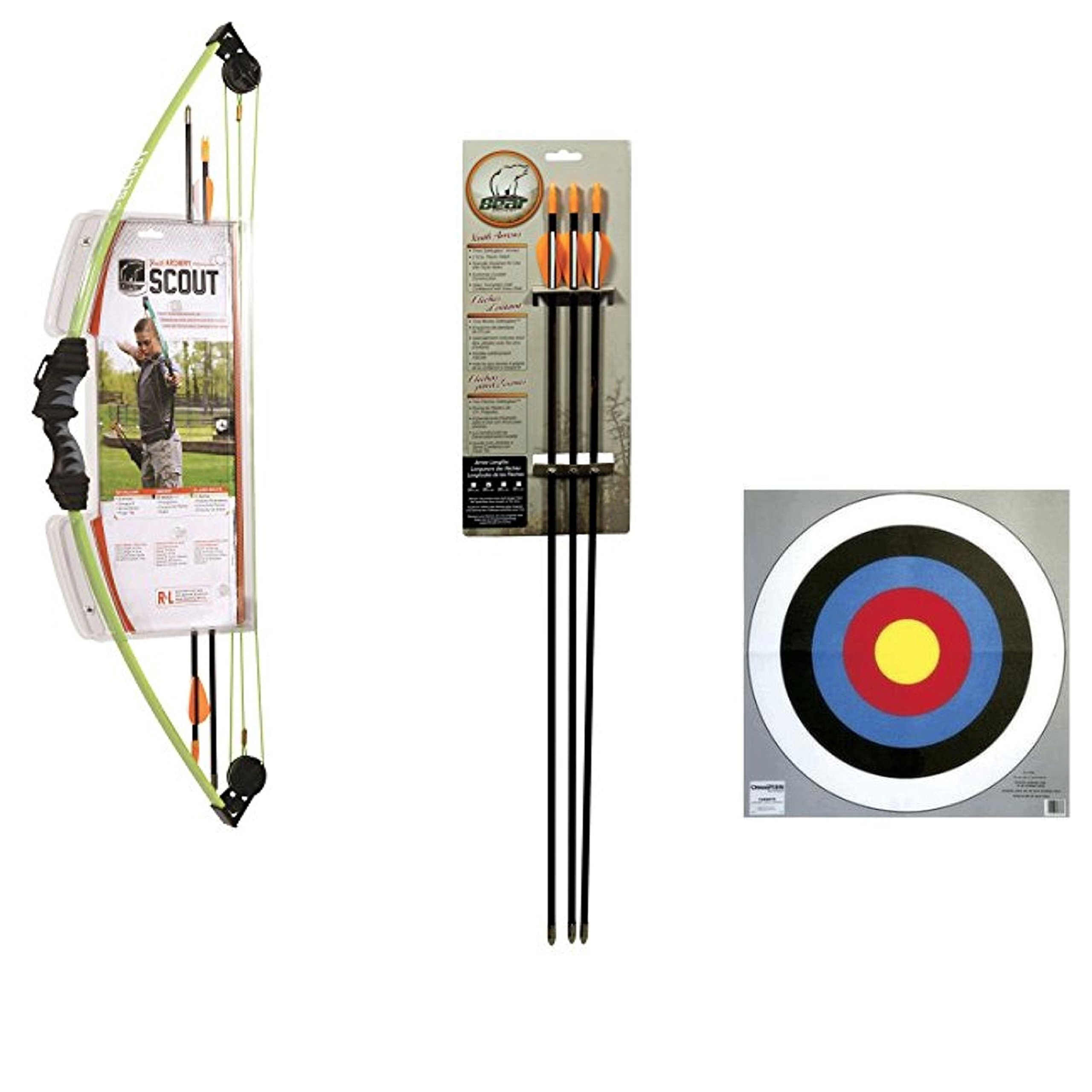 Bundle Includes 4 Items - 1004815 Bear Archery Scout Bow Set Flo Green and Bear Archery Youth Safetyglass Arrows (3 Per Card) – 24'' & 4 Champion Traps & Targets 24-Inch Bullseye Archery Target