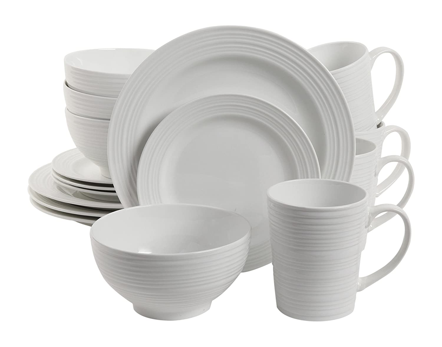 Gibson Home 102504.16RM Amelia Court 16 Piece Dinnerware Set, White