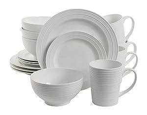 Gibson Home 102504.16RM Amelia Court 16 Piece Dinnerware Set, White