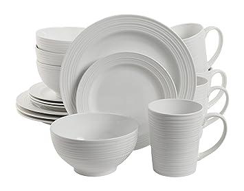 Amazon.com | Gibson Home 16 Piece Amelia Court Dinnerware Set, White ...