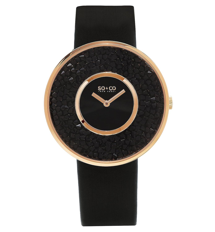 por lo Tanto y CO es el Reloj de Cuarzo de Las Mujeres York con Esfera Azul y Azul de la Correa de Cuero 5223,2: Amazon.es: Relojes