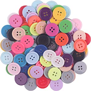 YAKA100Pcs 4/5inch(20mm) Sewing Resin Buttons Round Shape 4 Holes Craft Buttons for Sewing Scrapbooking and DIY Craft (Multicolored)