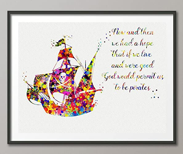 Amazon Pirate Ship Quote Watercolor Posters Art Prints Wall