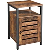 VASAGLE End Table, Nightstand with Open Shelf, Inner Adjustable Shelf, Metal Frame, 15.7 x 15.7 x 23.6 Inches, Living…