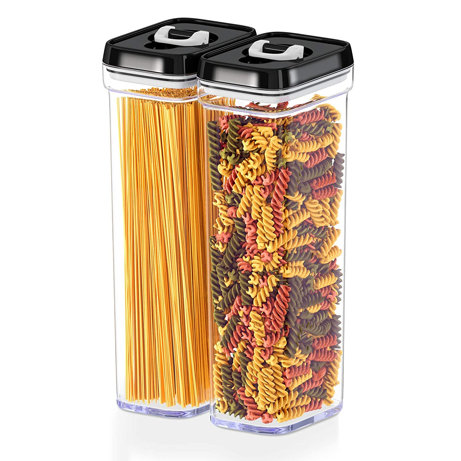 DWËLLZA KITCHEN Airtight Food Storage Containers with Lids – Same Size 2 Piece Set - Tall Air Tight Pantry & Kitchen Cereal Container for Spaghetti Noodle and Pasta - Keeps it Fresh & Dry
