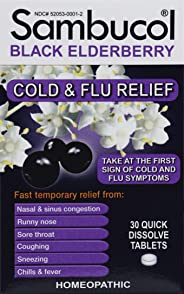 Sambucol Black Elderberry Cold & Flu Relief Tablets 30 Count, Homeopathic Remedy for Temporary Relief of Cold and Flu-like Sy