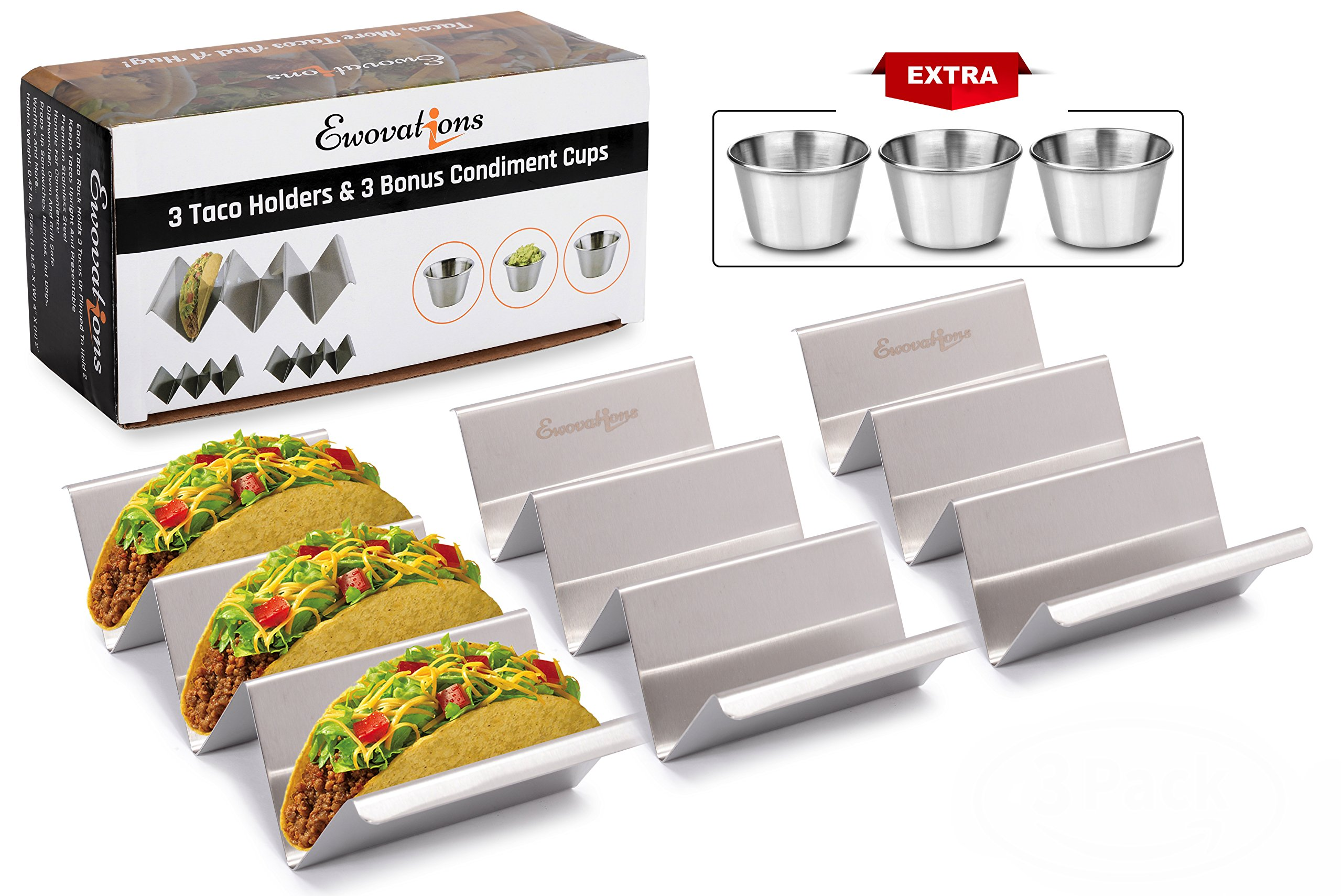 Tacos Holder. 3 Stainless Steel Taco Holder Stand with Handle and 3 Cups SET. A Taco Holder that is Safe for Oven Baking, Grill and Dishwasher. Taco Trays by Ewovations