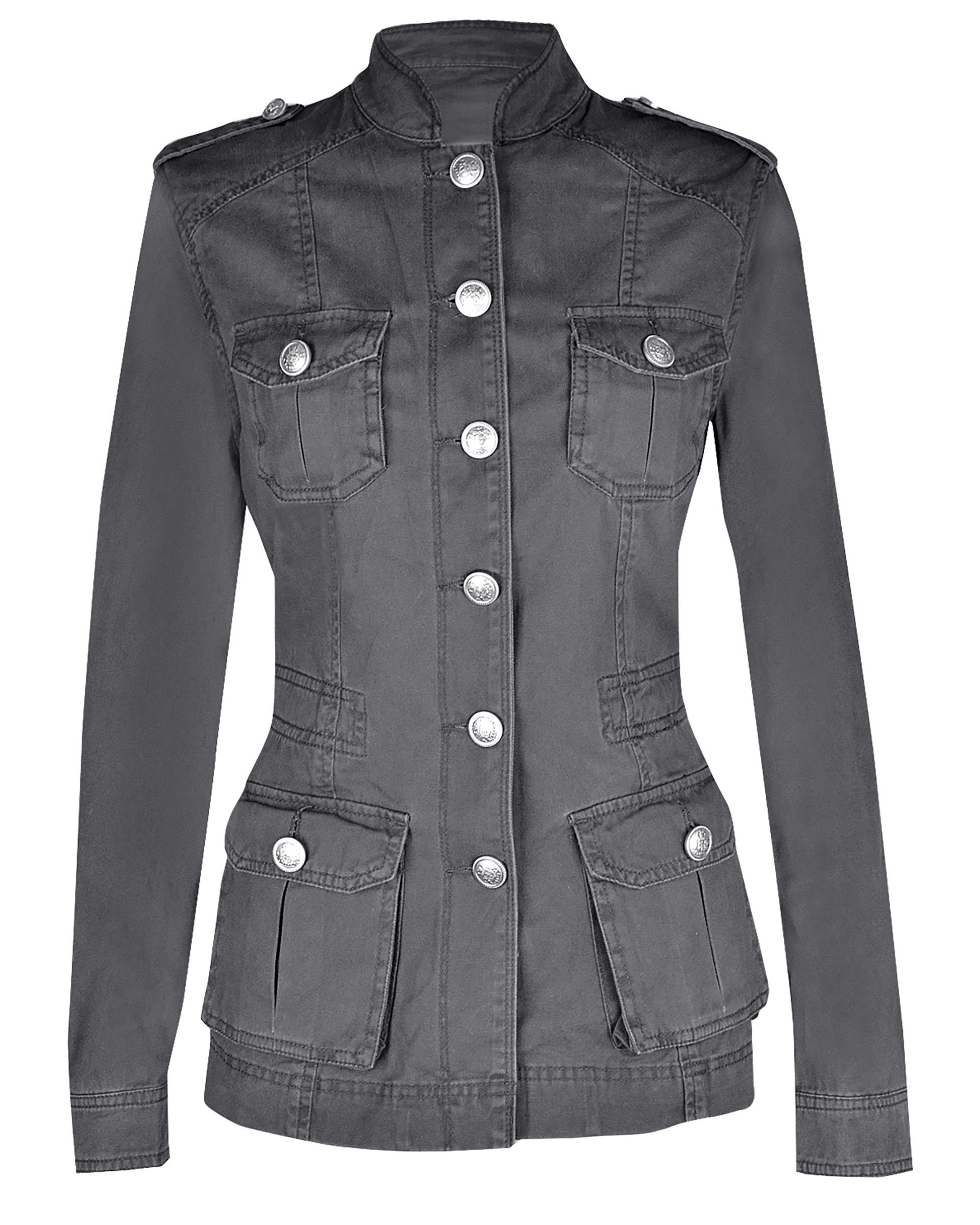 NOROZE Ladies Military Style Summer Jacket (12(UK 16), Silver Button Dark Grey)