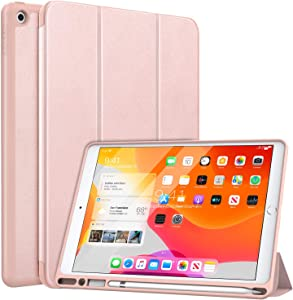 "MoKo Case Fit New iPad 10.2"" 2020/2019 with Apple Pencil Holder, Slim Lightweight Smart Shell Stand Cover Case Fit iPad 8th Generation 2020 / iPad 7th Generation 2019, Auto Wake/Sleep - Rose Gold"