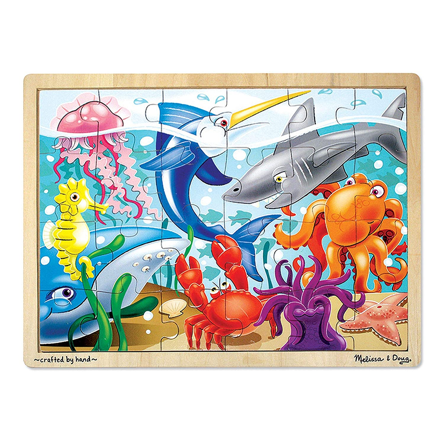 B000GL1DI6 Melissa & Doug Under the Sea Wooden Jigsaw Puzzle (Preschool, Sturdy Wooden Construction, 24 Pieces, Great Gift for Girls and Boys - Best for 3, 4, and 5 Year Olds) 81LEi2WtHuL