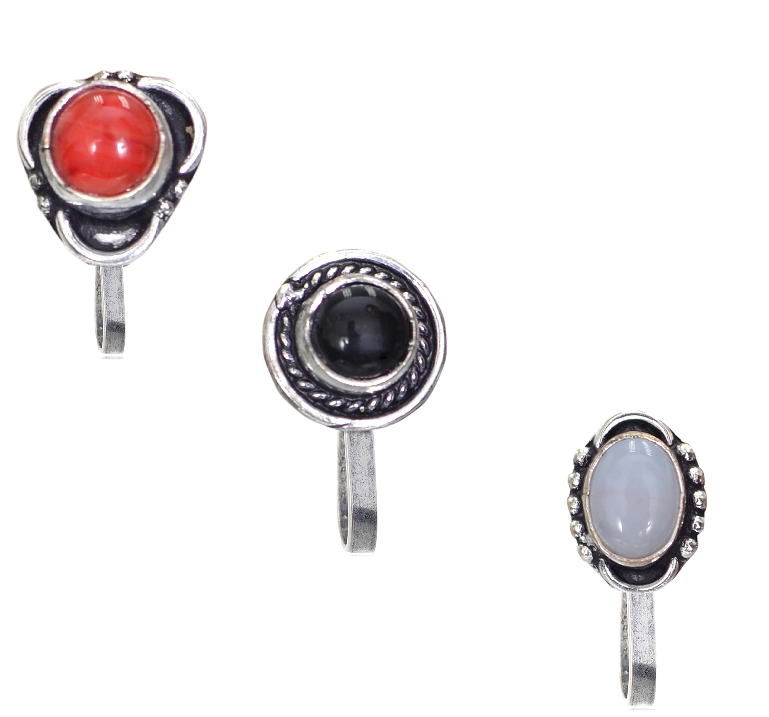 Sansar India Oxidized Silver Plated Stone Press Nose Pin Indian Jewelry for Girls and Women (4 PC)