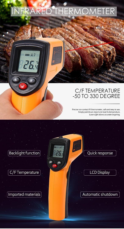 GM320 láser digital pantalla LCD IR sin contacto termómetro infrarrojo -50 a 380 C AUTO Sensor de temperatura medidor pistola: Amazon.es: Amazon.es