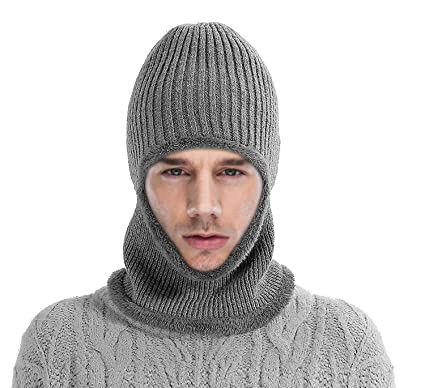 Mocofo Kint Winter Hats, 3-in-1 Cold Weather Beanie with Flexible Neck Guard for Men and Women,Winter Face Mask Riding Hat for Outdoor Sports Cycling Motorcycle Ski (Grey)