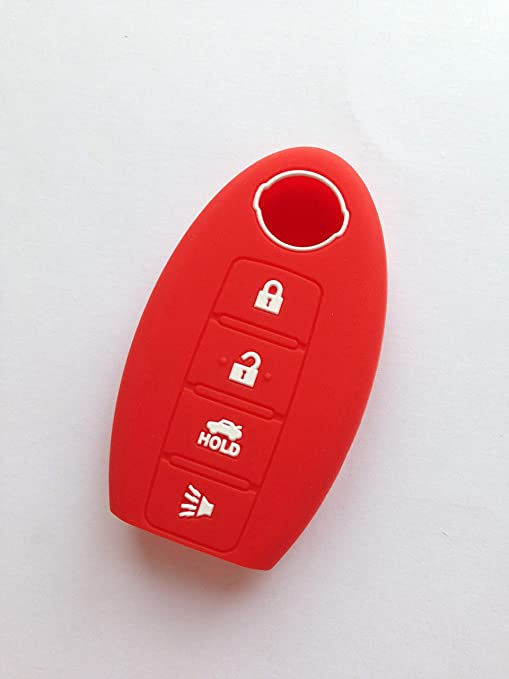 4 Buttons Silicone Key Cover Case For Nissan 370Z Sentra Murano Remote Fob Red