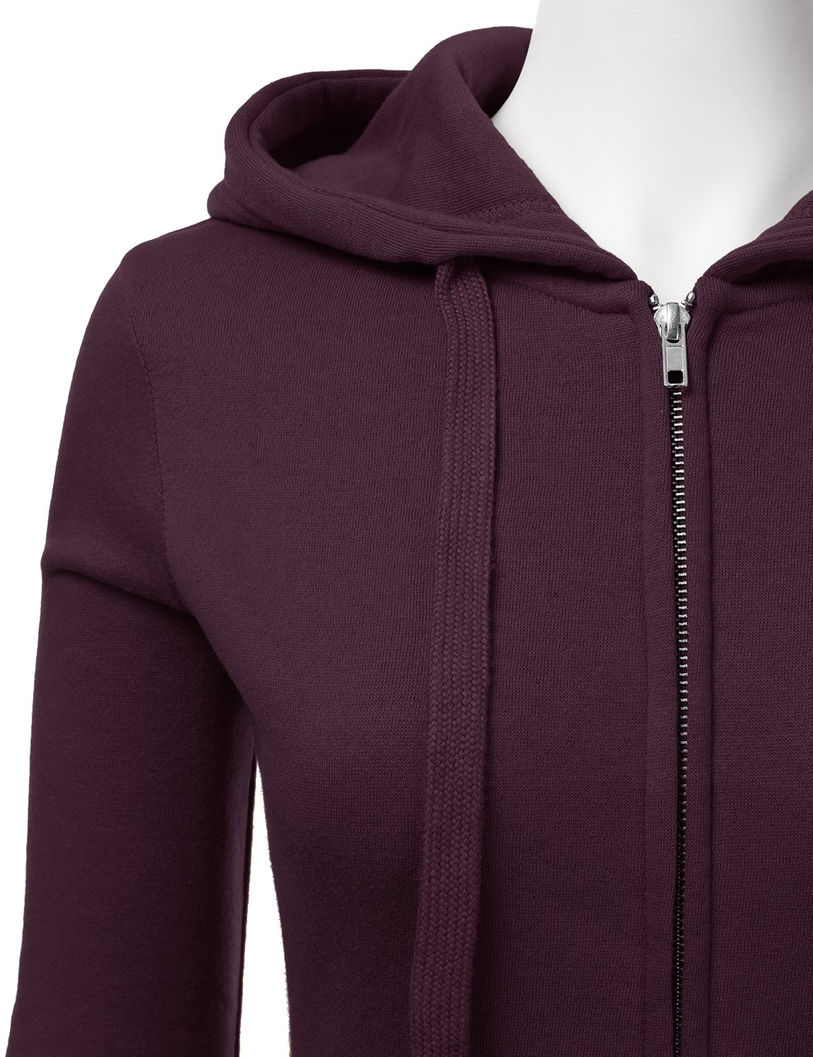 Doublju Lightweight Thin Zip-Up Hoodie Jacket for Women with Plus Size Plum Large by Doublju (Image #4)