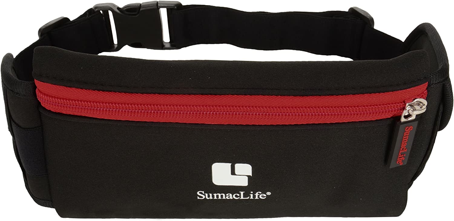 SumacLife Performance Sport Workout Exercise Running Belt Pouch Bag for Smartphones Keys etc – Retail Packaging – Black Red