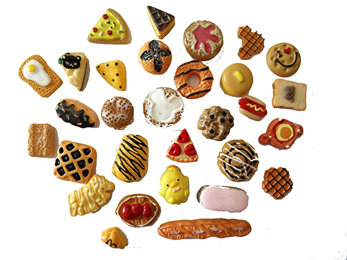 AMOBESTER Mixed Cabochons Dollhouse Play Food Flatback Resin Embellishments 30Psc Bread