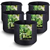 MAXSISUN 5-Pack 7 Gallon Plant Grow Bags, Heavy Duty Thickened Non-Woven Aeration Fabric Pots Container with Reinforced…