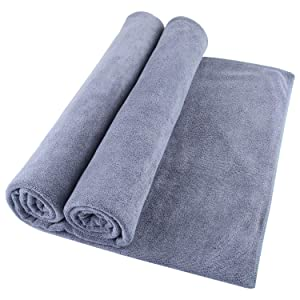 Microfiber Bath Towel Bath Sheets 2 Pack (32 x 71 Inch) Oversized Extra Large Super Absorbent Quick Fast Drying Soft Eco-Friendly Towels for Body Bathroom Travel (2PCS Grey)