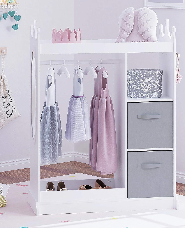 UTEX Kids Dress up Storage with Mirror and Storage Bin,Kids Play Armoire Dresser with Mirror,Kids Costume Organizer, Pretend Storage Closet for Kids,Costume Storage Dresser (White)