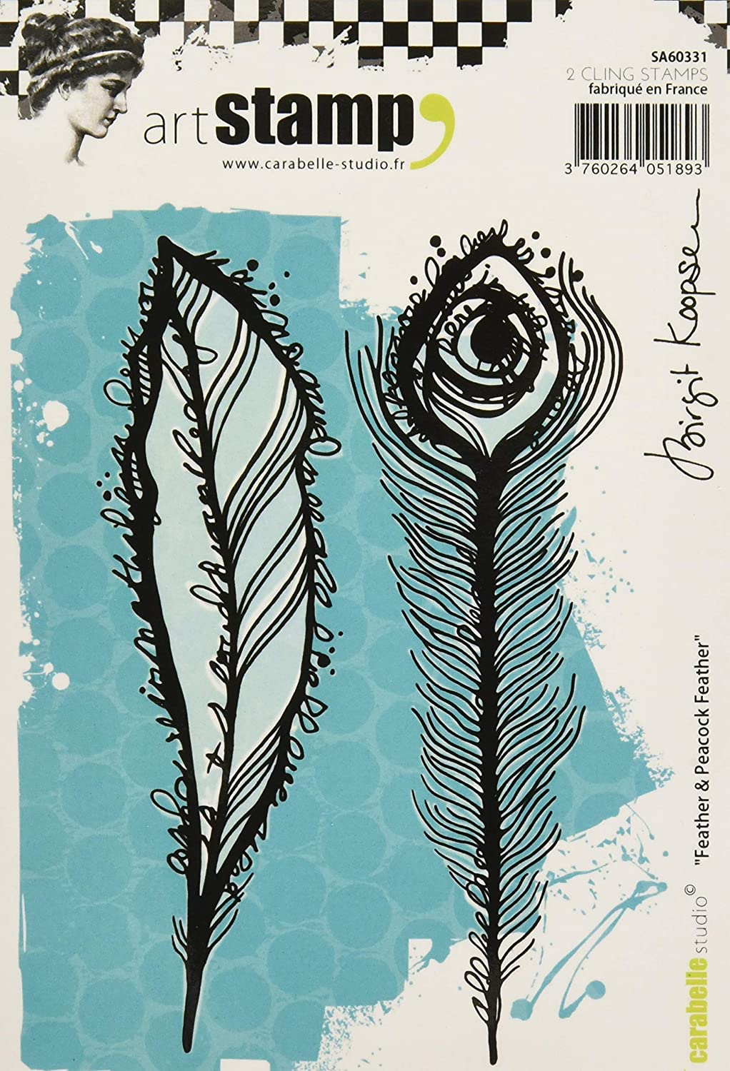 Carabelle Studio Feather /& Peacock Feather Cling Stamp A6 by Birgit Koopsen