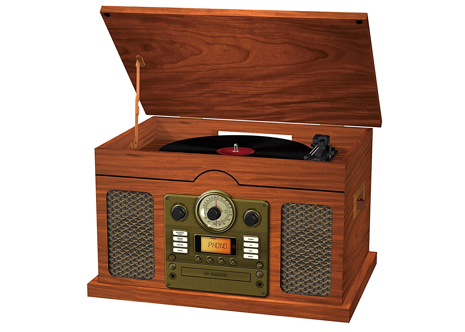 Sylvania Nostalgic 7-in-1 Wooden Turntable, Brown SRCD844