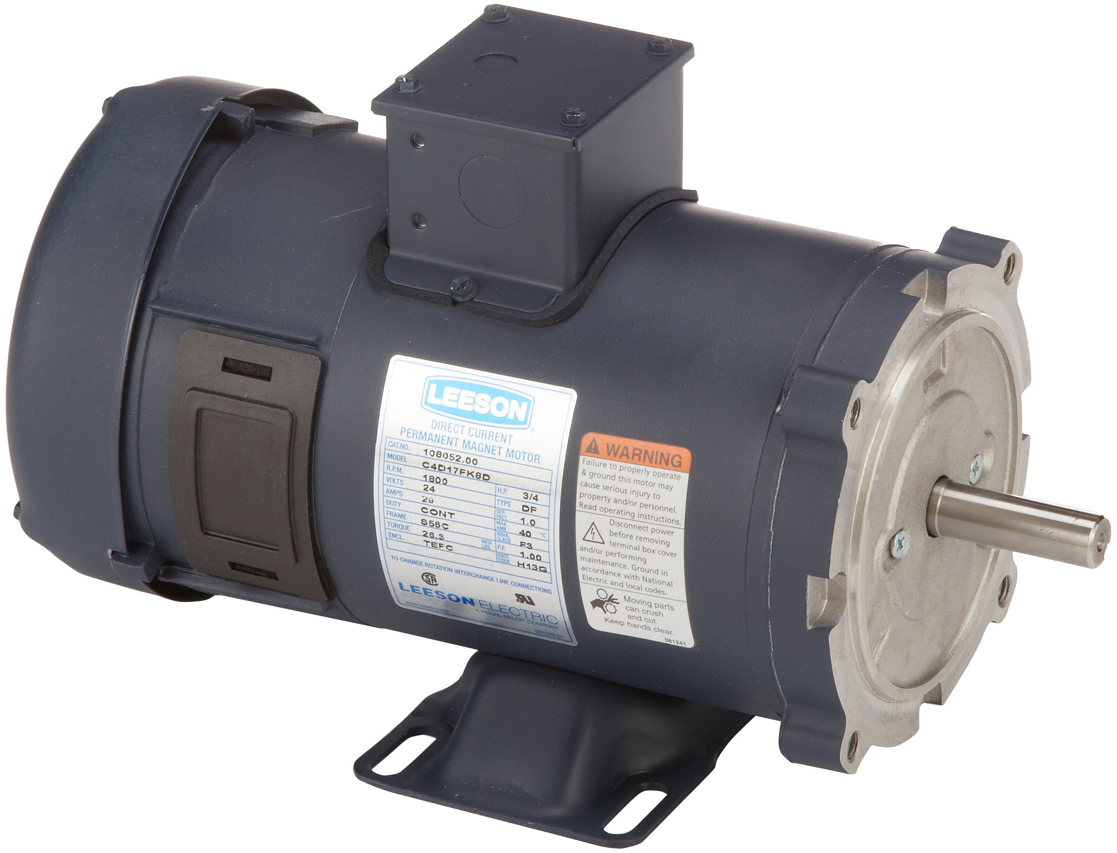 Leeson 108052.00 Low Voltage DC Motor, 56C Frame, C-Face Rigid Mounting, 3/4HP, 1800 RPM, 24V Voltage