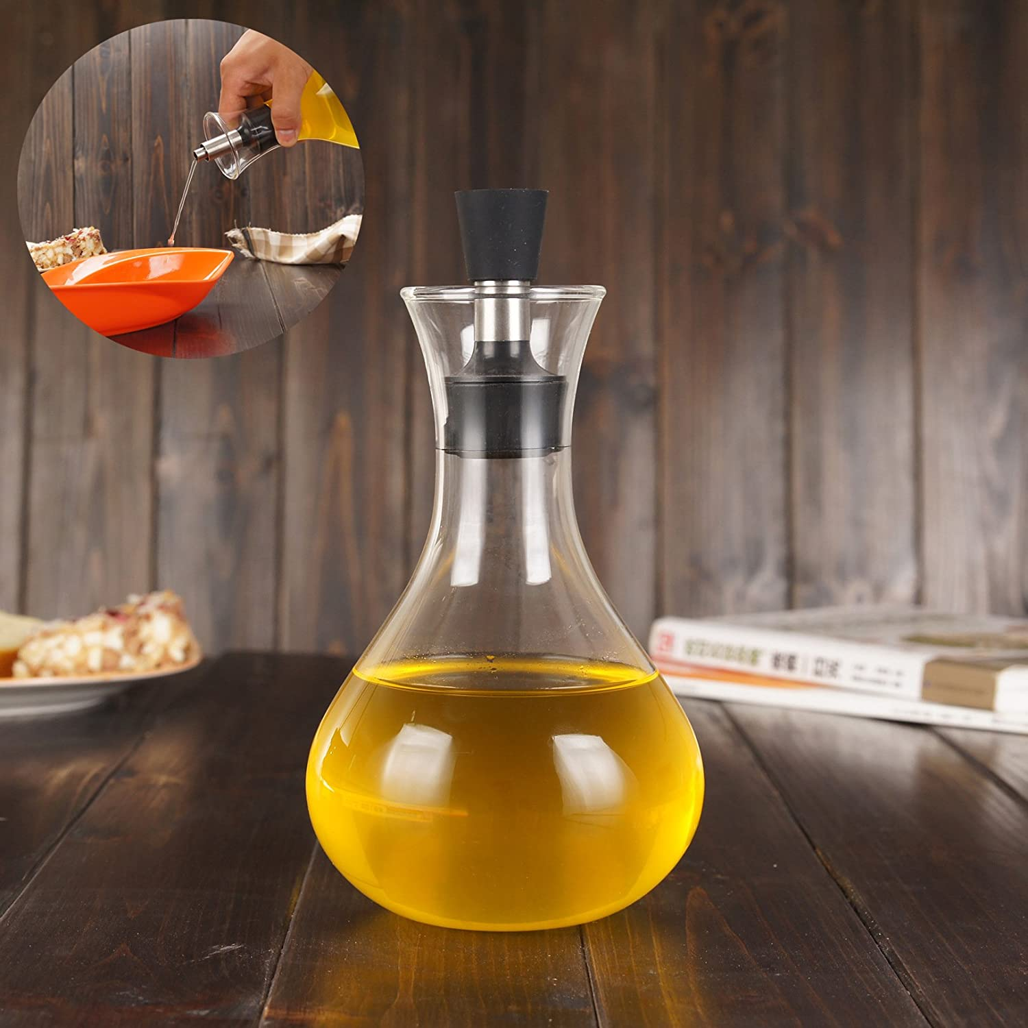 Simonshop 500ml Leak-Proof Oil Bottle Soy Sauce Container Vinegar Oil Cruet Storage Dispenser Cooking Tool (Style A) TIANJIA080