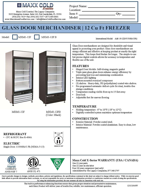 Amazon.com: Maxx Cold MXM1-12FB One 1 Glass Door Upright NSF ...