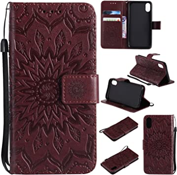 Green Cfrau Wallet Case with Black Stylus for iPhone X//XS,Beautiful Mandala Sunflower Embossed PU Leather Magnetic Flip Stand Soft Silicone Card Slots Case with Wrist Strap
