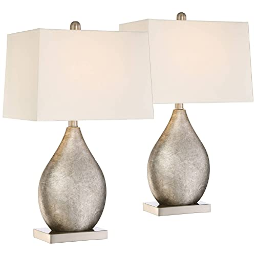 Royce Modern Table Lamps Set of 2 Silver Metal Teardrop Off White Rectangular Shade for Living Room Family Bedroom Bedside – 360 Lighting