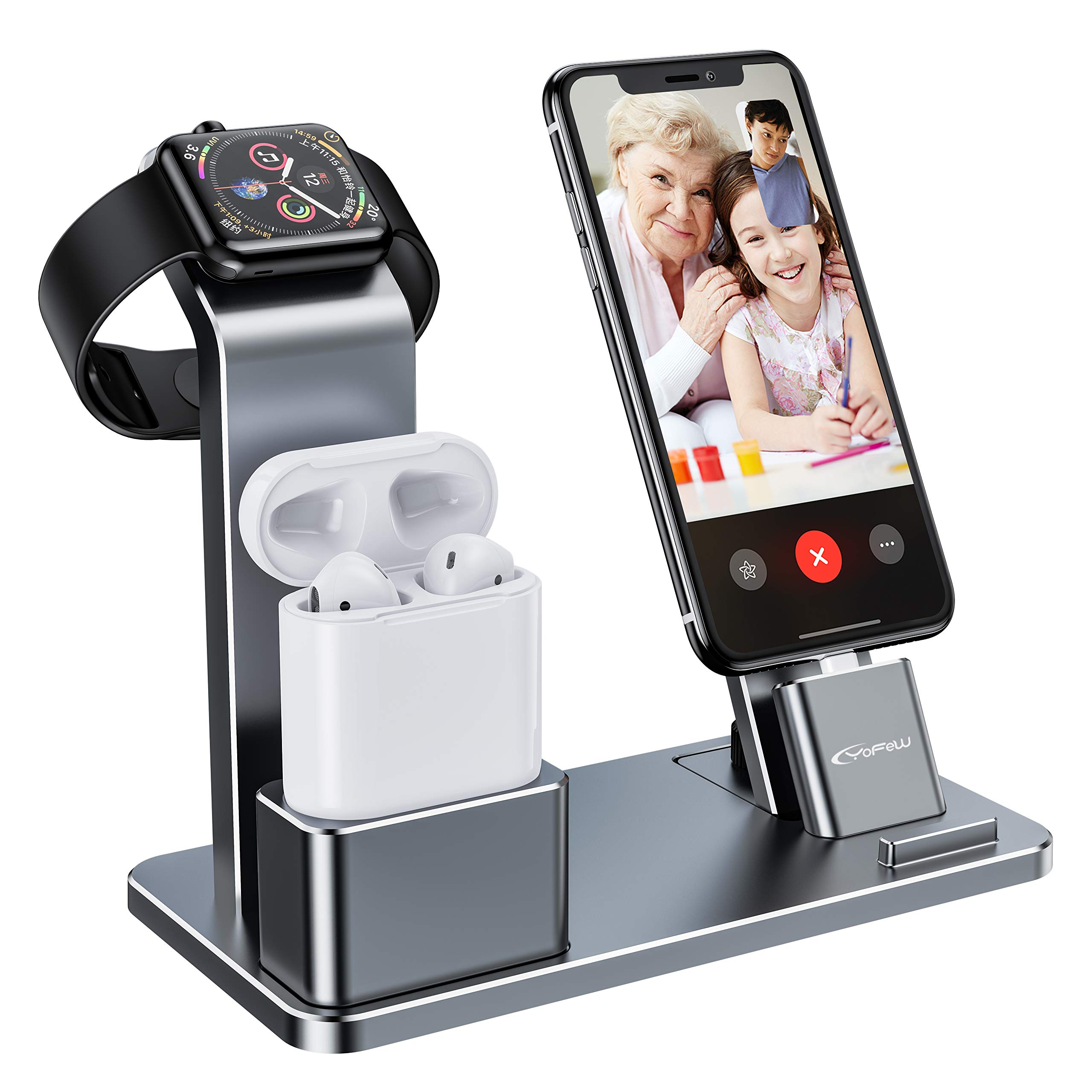 YoFeW Charging Stand for Apple Watch Charger Stand Aluminum Dock Holder Compatible for iWatch Apple Watch Series 4/3 / 2/1/ AirPods/iPhone X/XS/XS Ma /8 / 8Plus / 7/7 Plus /6S /6S Plus by YoFeW