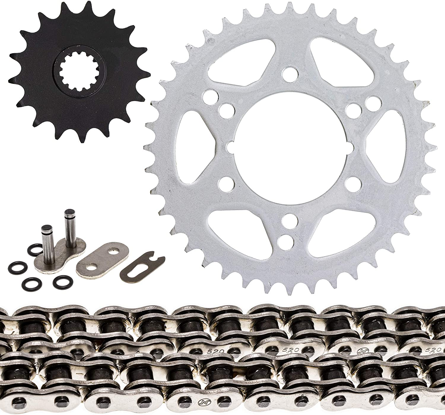NICHE Drive Sprocket Chain Combo for Kawasaki Ninja ZX10R Front 17 Rear 40 Tooth 520V O-Ring 108 Links