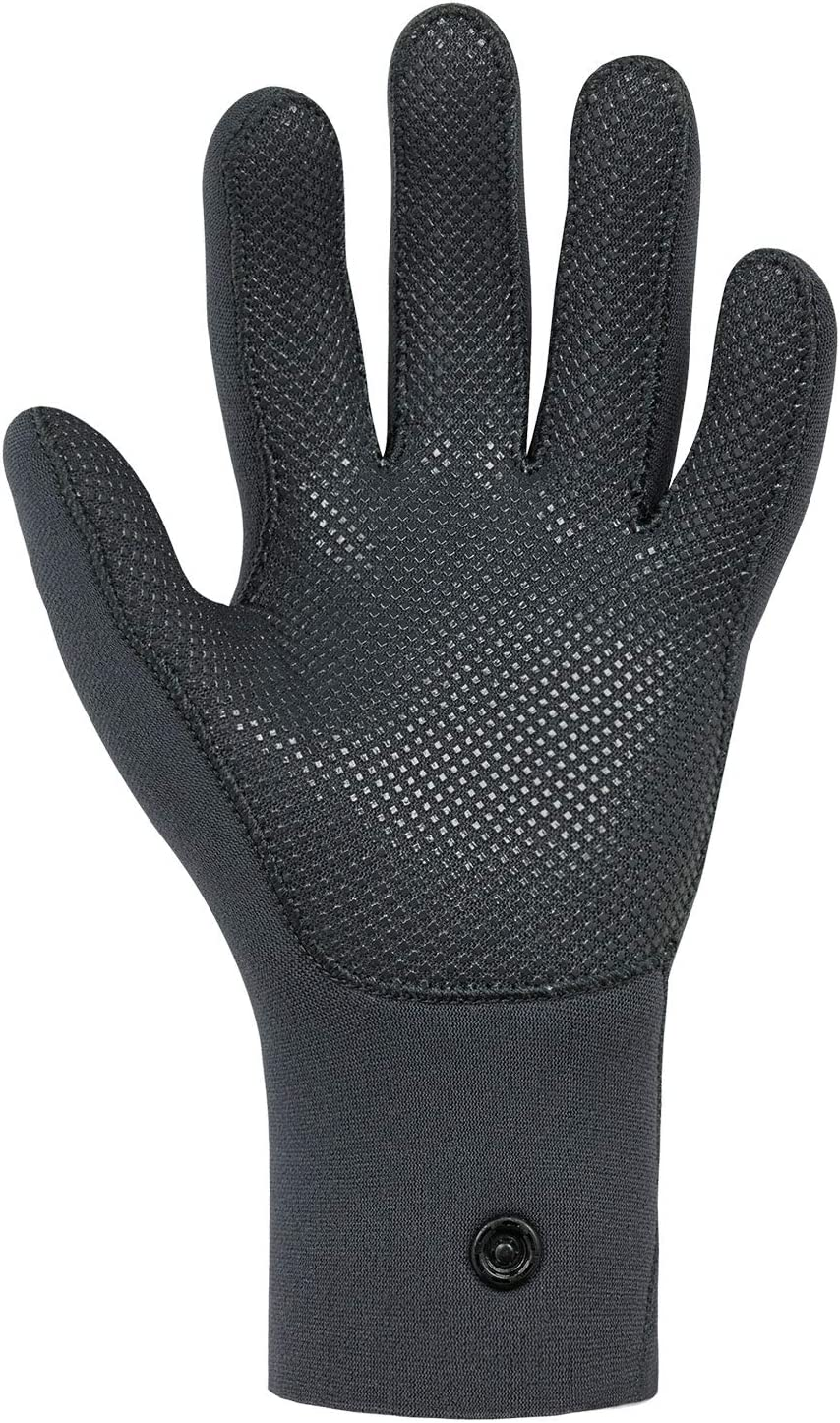 Grab High Ten Neoprene Wetsuit Gloves Jet Grey Glued and blind stitched construction Palm Kayak or Kayaking