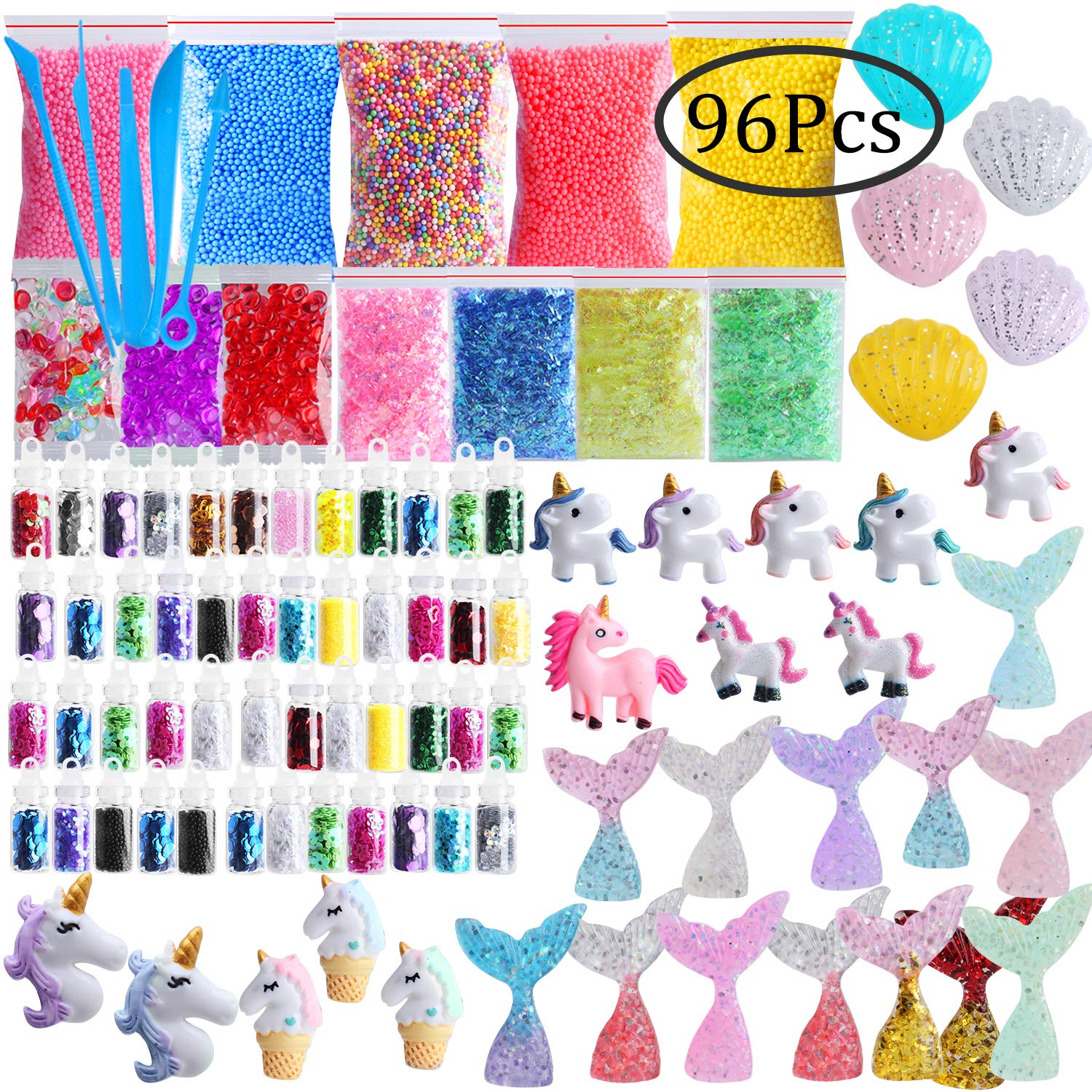 Slime Supplies Kit, Outee 96 Pack Glitter Slime Fish Bowl Beads Add Ins  Floam Ingredients Mermaid Unicorn Glitter Jar Tools Glitter Slime Charms  Kit
