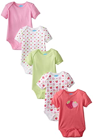 56264654f405d Bon Bebe Baby Girls' Newborn Strawberry 5 Pack Lap Shoulder Bodysuits with  Snaps, Multi