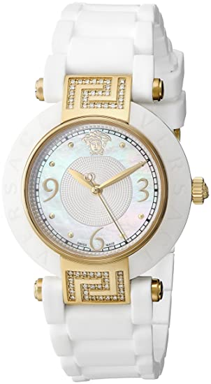 60b76aa4d Versace Women's 92QCP11D497 S001 Reve 14k Yellow Gold Ion-Plated Watch with  White Rubber Band: Versace: Amazon.ca: Watches