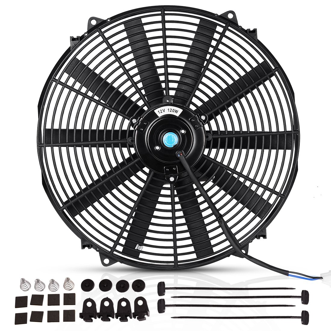 "16"" Radiator Cooling Fan Electric Mounting Kit 12V for Motorcycle Bike 2000 CFM(Diameter 16.73"" Depth 3.26"")"
