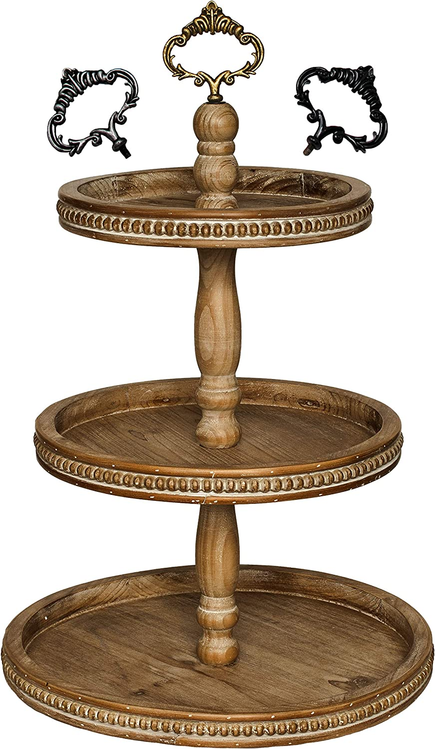 Felt Creative Home Goods 3 Tiered Tray Wooden Serving Stand Large Beaded Tray for Home Decor Display Farmhouse Country Decoration Kitchen or Dining. Includes 3 Finial Custom Handles (Brown)