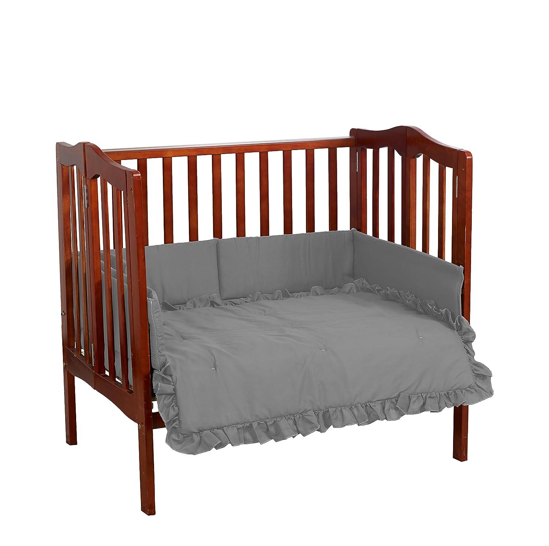 Baby Doll Bedding Solid Mini Crib/Port-a-Crib Set, Grey